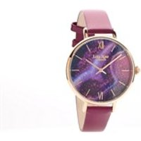lola rose lr2020 agate magenta leather strap watch  w0322