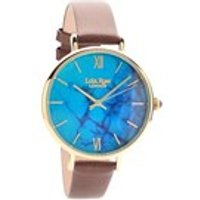 lola rose lr2024 magnesite brown leather strap watch  w0324