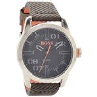 hugo boss orange 1513417 oslo brown leather strap watch  w45106