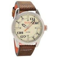 hugo boss orange 1513418 oslo brown leather strap watch  w45107