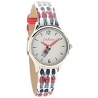 cath kidston ckl011es stainless steel rotating guards leather strap watch  w5662