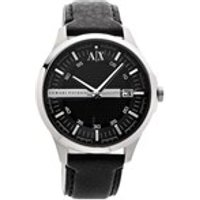 armani exchange ax2101 stainless steel black leather strap watch  w6206