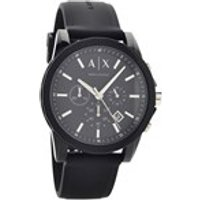 armani exchange ax1326 chronograph black silicon strap watch  w6540