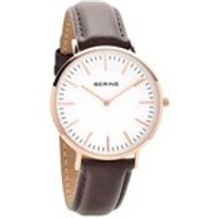 bering 13738564 rose gold plated brown leather strap watch  w7430