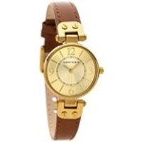 anne klein 10/n9442chhy gold plated brown leather strap watch  w8003