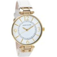 anne klein 10/n9168wtwt gold plated white leather strap watch  w8024