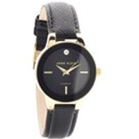 anne klein ak/n2538bkbk gold plated diamond set black leather strap watch  w8071