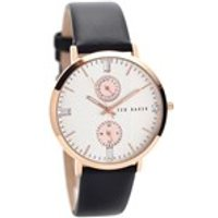 ted baker te10024713 rose gold plated black leather strap watch  w8283