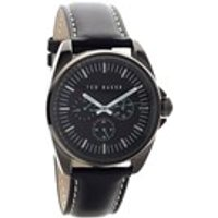 ted baker te10025262 black ion plated black dial leather strap watch  w8297