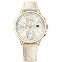 tommy hilfiger 1781790 carly gold plated chronograph leather strap watch  w9587