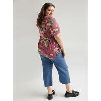 Fiorella Rubino Jeans wide leg cropped Ambra con applicazioni Donna Blu