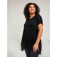 Fiorella Rubino T-shirt lunga in due tessuti Donna Nero