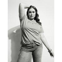 Fiorella Rubino T-shirt con cristalli e scritta ricamata Donna Rosa