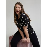 Fiorella Rubino T-shirt a pois con scritta Donna Nero