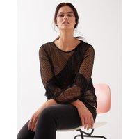 Fiorella Rubino T-shirt in tulle plumetis Donna Nero
