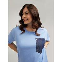 Fiorella Rubino T-shirt #livefree con tasca in denim applicata Donna Blu