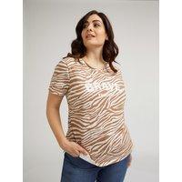 Fiorella Rubino T-shirt con stampa zebrata e scritta Donna Beige