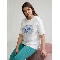 Fiorella Rubino T-shirt con scritta e cristalli Donna Bianco