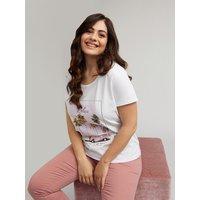 Fiorella Rubino T-shirt con stampa palme e scritta Donna Bianco