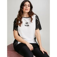 Fiorella Rubino T-shirt lunga con pizzo e scritta Donna Nero