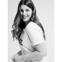 Fiorella Rubino T-shirt con scritta e bordo in pizzo Donna Bianco