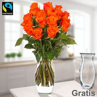 Orange Fairtrade Rosen im Bund