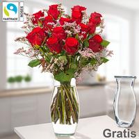 15 rote Fairtrade Rosen im Bund mit Limonium