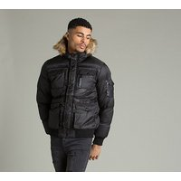 Ancoats Quilted Fur Bomber Jacket