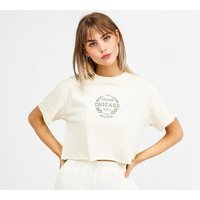 Daisy Street Womens Cropped Embroidered Logo T-Shirt