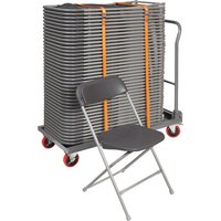 Classic Folding Chair Bundle Deal (40 Chairs and 1 Trolley), Charcoal