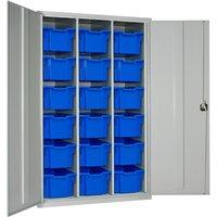 Elite High Capacity Storage Cupboard With 18 Extra Deep Trays, Dark Grey/Blue