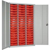Elite High Capacity Storage Cupboard With 51 Shallow Trays, Dark Grey/Blue