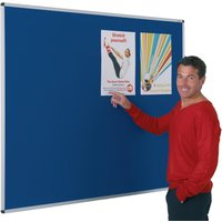 Grey/blue Aluminium Framed Felt Noticeboard - Works With Pins & Velcro. Find Loads More Colours, Materials & Styles Online - Buy