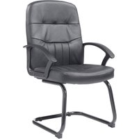 Black York Leather Faced Visitor Chair. Size: 47/52/46. Find Loads More Colours, Materials & Styles Online - Buy Office Furnitur