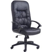 Black High Back Leather Faced Executive Office Chair - Nero. Find Loads More Colours, Materials & Styles Online - Buy Office