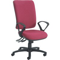 Brown Polnoon Extra High Back Operator Chair With Fixed Arms. Find Loads More Colours, Materials & Styles Online - Buy Offic