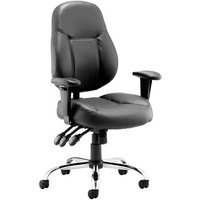 Black Sharp Leather Faced Operator Chair. Find Loads More Colours, Materials & Styles Online - Buy Office Furniture Online