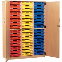 Red 48 Tray Storage Cupboard With Full Doors. Find Loads More Colours, Materials & Styles Online - Buy Office Furniture Online