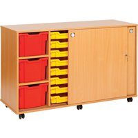 Green 22 Tray Storage Unit With Sliding Door. Find Loads More Colours, Materials & Styles Online - Buy Office Furniture Onli
