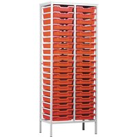 Red/blue Metal Tray Storage Unit With 38 Trays. Find Loads More Colours, Materials & Styles Online - Buy Office Furniture On