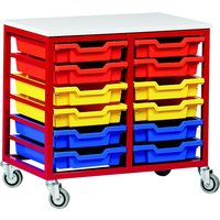 Grey Metal Tray Storage Unit With 12 Trays. Find Loads More Colours, Materials & Styles Online - Buy Office Furniture Online