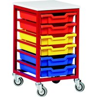 Red/green Metal Tray Storage Unit With 6 Trays. Find Loads More Colours, Materials & Styles Online - Buy Office Furniture On