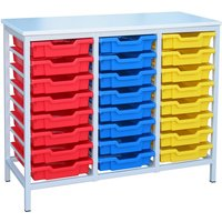 Red/pink Metal Tray Storage Unit With 24 Trays. Find Loads More Colours, Materials & Styles Online - Buy Office Furniture On