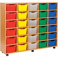 Blue Cubby Tray Storage Unit With 30 Trays. Find Loads More Colours, Materials & Styles Online - Buy Office Furniture Online