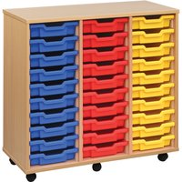 Red/blue 30 Shallow Tray Storage Unit. Find Loads More Colours, Materials & Styles Online - Buy Office Furniture Online