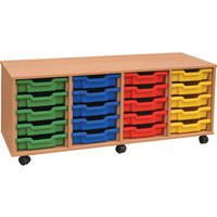 Pink 4 Bay Shallow Tray Storage With 20 Trays. Find Loads More Colours, Materials & Styles Online - Buy Office Furniture Online
