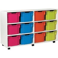 White 12 Extra Deep Tray Storage Unit. Find Loads More Colours, Materials & Styles Online - Buy Office Furniture Online