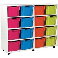White 16 Extra Deep Tray Storage Unit. Find Loads More Colours, Materials & Styles Online - Buy Office Furniture Online