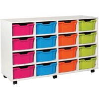White 16 Deep Tray Storage Unit. Find Loads More Colours, Materials & Styles Online - Buy Office Furniture Online