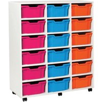 White 18 Deep Tray Storage Unit. Find Loads More Colours, Materials & Styles Online - Buy Office Furniture Online